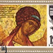 USSR - CIRCA 1977: A stamp printed in the USSR shows draw by artist Andrei Rublev - Portrait of Michael the Archangel, circa 1977 - Foto de Stock