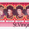 British Used Postage Stamp celebrating the Silver Jubilee of the Crowning of Queen Elizabeth 2nd, circa — Stock Photo