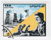 A vintage stamps with 35th president of USA - John Fitzgerald Kennedy — Stock Photo