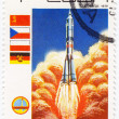 REPUBLIC OF CUBA CIRCA 1979: A vintage postal stamp printed in Cuba with a postmark dated 1904, depicting a rocket launch named Lanzamiento into space circa 1979 — ストック写真