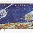 Royalty-Free Stock Photo: CUBA - CIRCA 1973: A stamp printed by the Cuban Post shows a Soviet lunar space probe Luna 1, circa 1973