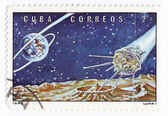 CUBA - CIRCA 1973: A stamp printed by the Cuban Post shows a Soviet lunar space probe Luna 1, circa 1973 — Foto Stock