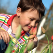 Boy with tulips — Stock Photo #2714693
