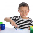 Boy paint with help her fingers — Stock Photo