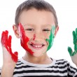 Boy with paint isolated on white - Stock Photo