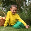 Stock Photo: Little boy posing outdoors with apples