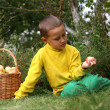 Stock Photo: Little boy with apples
