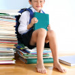 Schoolboy on the heap of books — Stock Photo