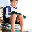 Schoolboy on the heap of books — Stock Photo #2732199
