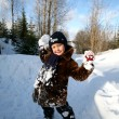 Boy winter outdoors - Stock Photo