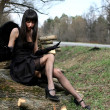 Black angel outdoors — Stockfoto