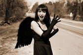 Scream - Angel in the road — Stock Photo