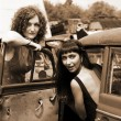 Two girls with vintage car — Stock Photo #2761184