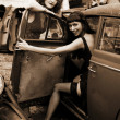 Two girls with vintage car — Stock Photo #2761247