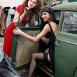 Two girls with vintage car — Stock Photo #2761274