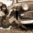 Beside retro car under construction - Foto Stock