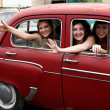 Girls in old car — Stock Photo #2767573