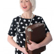 Woman with retro suitcase — Stock Photo #2778282