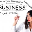 Businesswoman drawing of Business plan - Stock Photo