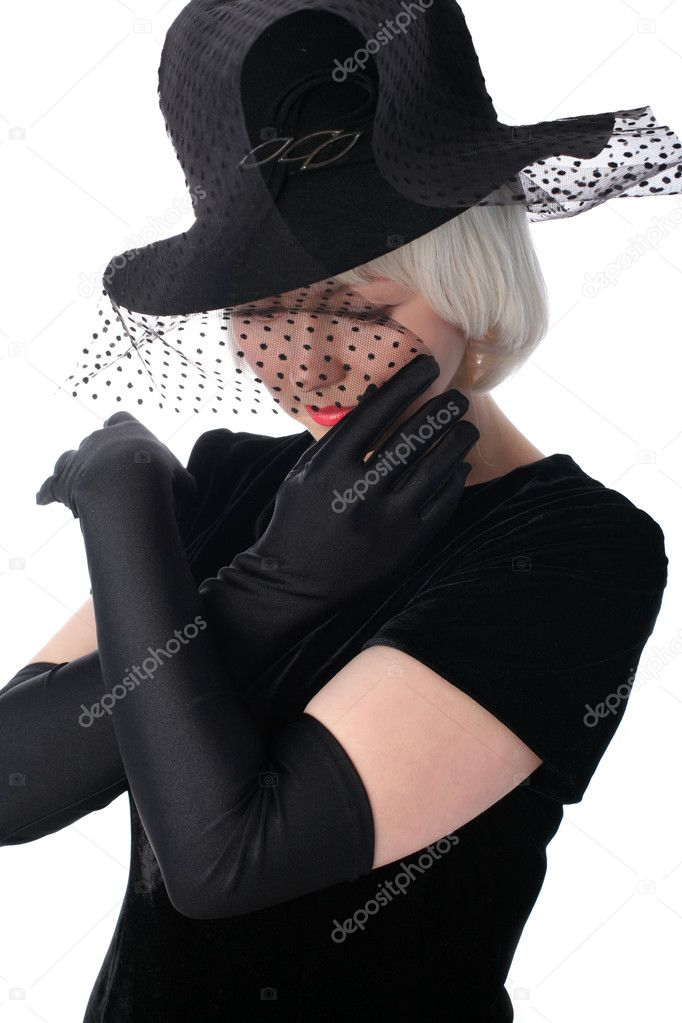 Lovely woman in hat hiding at veil  Stock Photo #2780574