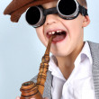 Funny Boy in vintage hat, smoker tube — Stock Photo #2825847