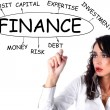 Businesswoman drawing plan of finance - Stock Photo