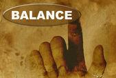 Hand and word of BALANCE — Stock Photo