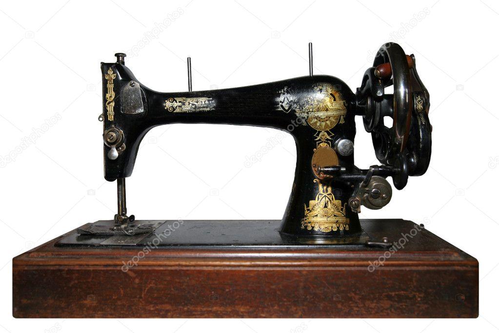 老式缝纫机上白色隔离