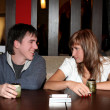 Girl and man in cafe - Stock Photo