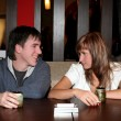 Girl and man in cafe — Stock Photo