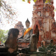 Stock Photo: Monuments of buddah, ruins of Ayutthaya