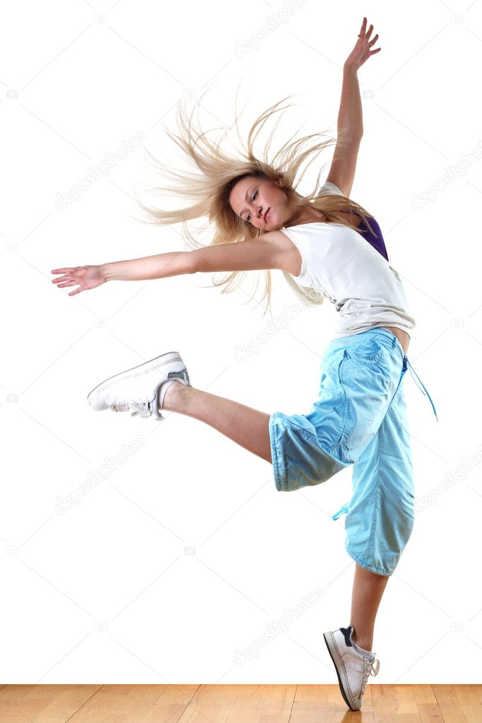 Woman modern dancer in ballroom — Stockfoto #2892640