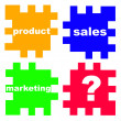Main questions in business in the puzzle — Stock Photo #2905459