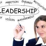 Businesswoman drawing plan of Leadership — Stock Photo