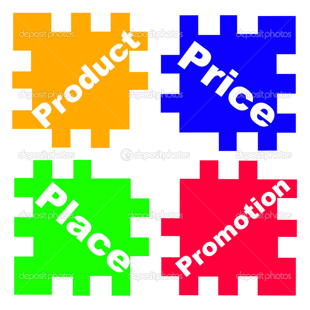 Concept the 4P's of Marketing as puzzle game  Stock Photo #2900619