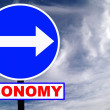 Economy Blue Road Sign with dramatic clouds and sky. — Stock Photo
