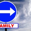 Family Road Sign with dramatic clouds and sky — Stock Photo #2910050