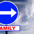 Family Road Sign with dramatic clouds and sky — Stock Photo