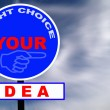 Idea Road Sign with dramatic clouds and sky — Stock Photo #2910073