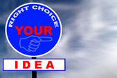 Idea Road Sign with dramatic clouds and sky — Stock Photo