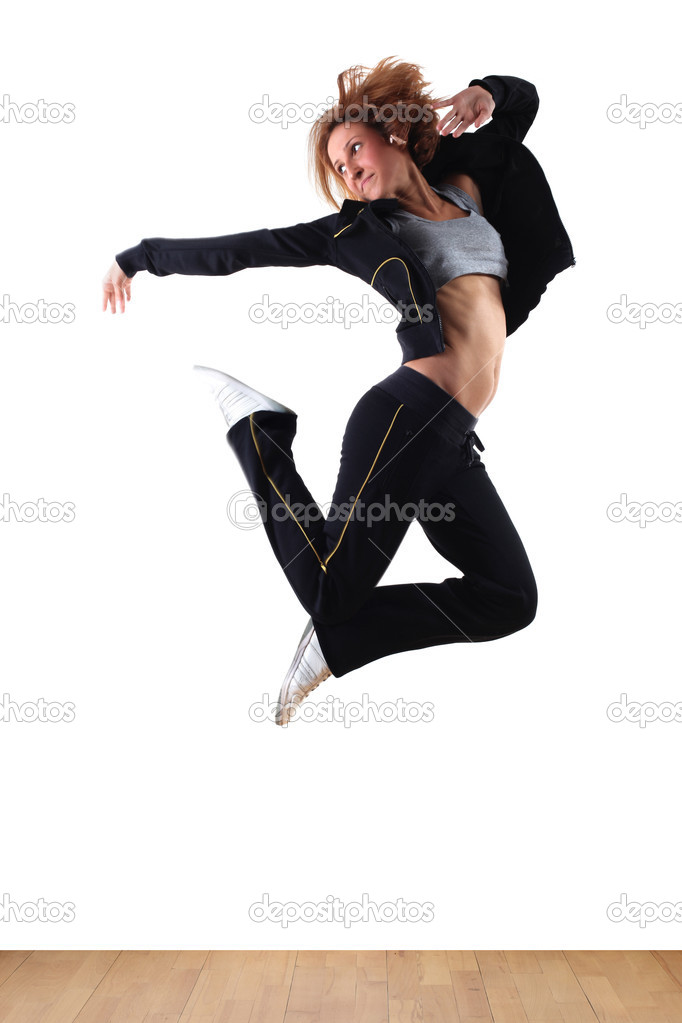 Jumping  woman modern ballet dancer in ballroom — Stock Photo #2916473