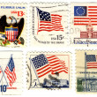 Old stamps with symbols of USA — Stock Photo