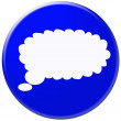 Whithe speech bubble over blue background — Stock Photo