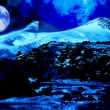 Moon night in Elbrus Mt — Stock Photo