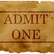 Ticket admit one - Stock Photo