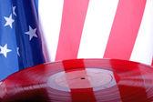 Gamla vinylskivor med usa flagga — Stockfoto
