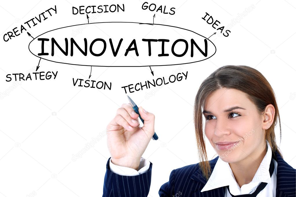Businesswoman drawing plan of Innovation  Stock Photo #2991649