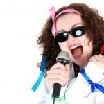 Crazy 70s -singer isolated on white — Stock Photo