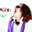 Stock Photo: Crazy 70s -singer isolated on white