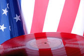Red old Vinyl record with USA flag — Stock Photo